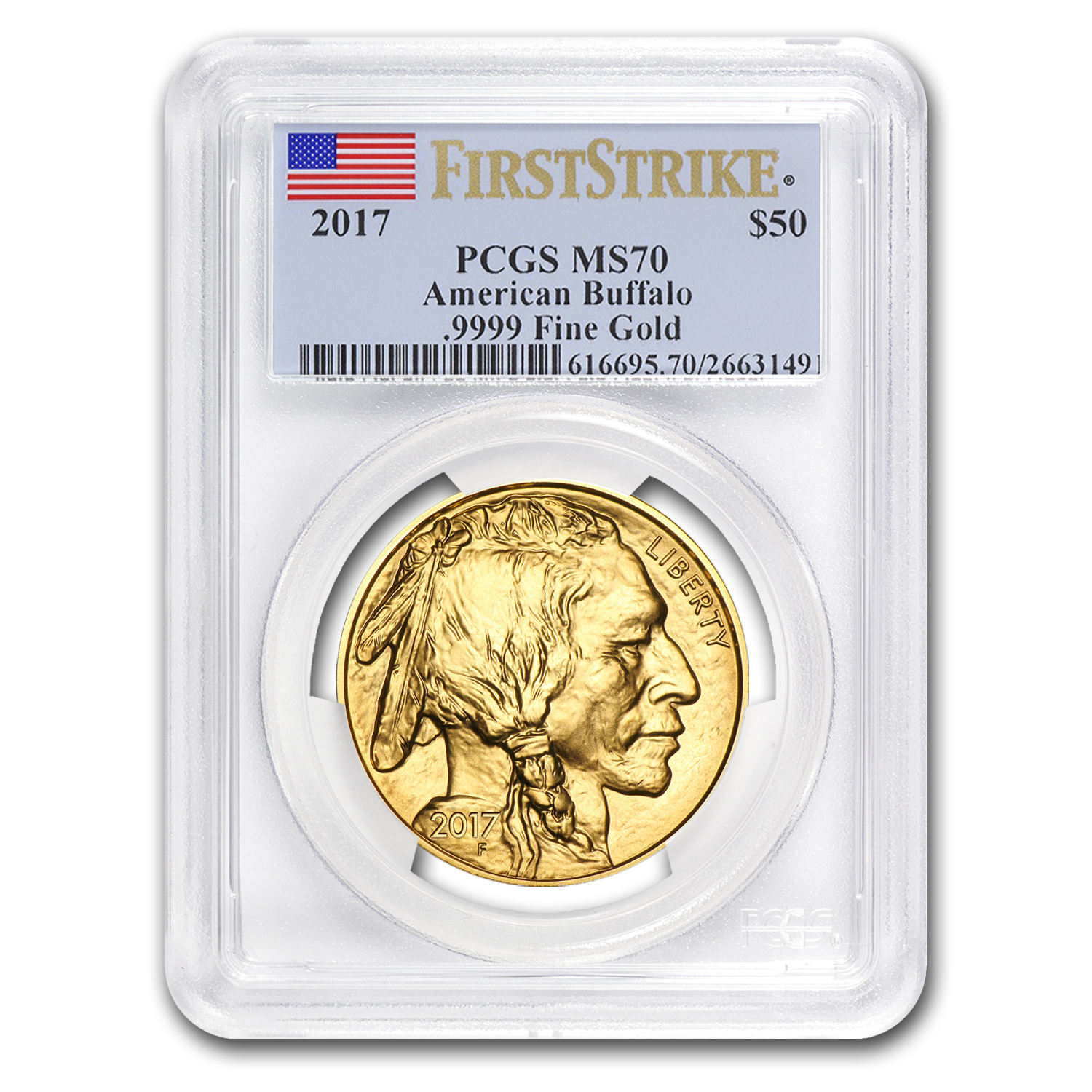 2017 1 oz Gold Buffalo MS-70 PCGS (First Strike, Flag Label)